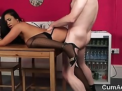 Naughty peach gets cumshot on her face gulping all the cum