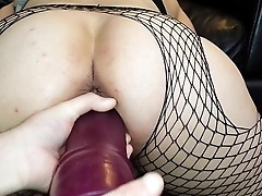 Pussy abused with three big dildos