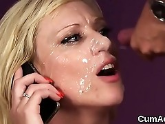 Naughty idol gets sperm load on her face eating all the jizm