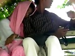 Pak lovers handjob and fingering in public