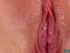 Sultry nympho is gaping spread twat in close-up and having orgasm