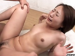 Asian slut has a dick full of her pussy in the class room