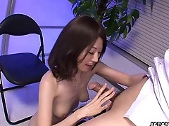 Ugly Asian babe with her small boobs titty fucks