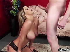 Frisky babe gets cumshot on her face swallowing all the jizz