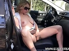 Flashing no panties with a dildo on a rest area