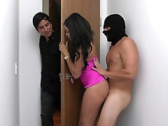 Cassidy Banks gets her pussy rammed by the burglar while talking to her husband