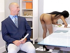 Brittney White gets on the phone with her employee's wife while seducing him