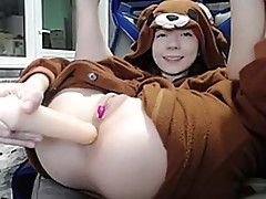Sexy brunette teen bear costume masturbating on webcam
