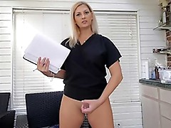 Gorgeous busty nurse exposes her boobs and furry twat