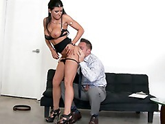 Stunning MILF Romi Rain undresses so man could worship her XXX body