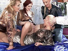 Blonde Adel Sunshine dominated by four XXX hotties who pee on her