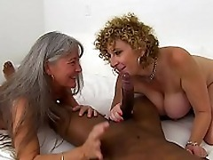 Busty Sara Jay and her old mom pamper themselves with black XXX staff
