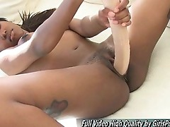 Sasha sex petite double ended dildo stuffs toy vagina