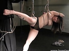Devils asian suspension bondage and kinky fetish of tied up japanese beauty in s